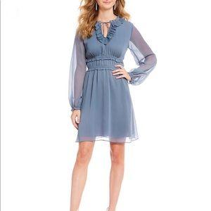 New Cece Blue Cinched Waist Tie Ruffled Dress
